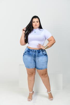 Shorts Feminino Jeans Jogger Plus Size Cintura Alta