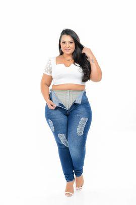 Calça Feminina Jeans Skinny Plus Size Com Cinta Modeladora Cintura Alta Xtracharmy