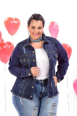 Max Jaqueta Feminina Jeans Plus Size Manga De Moletom Azul Marinho