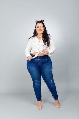 Calça Feminina Jeans Skinny Plus Size Cintura Média