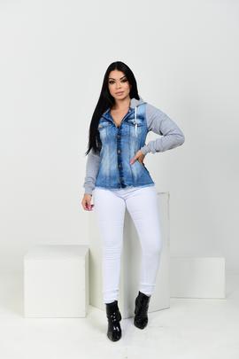 Jaqueta Feminina Jeans Com Manga De Moletom
