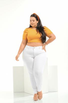 Calça Feminina Jeans Branco Plus Size Cintura Alta Xtracharmy