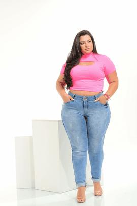 Calça Feminina Jeans Plus Size Cintura Média Xtracharmy