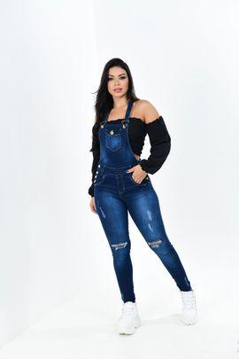 Macacão Feminino Jeans Rasgado