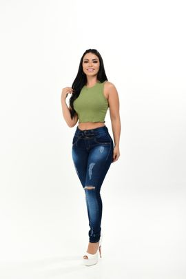 Calça Feminina Jeans Skinny Cós Largo Detalhe Laço Jeans Frontal