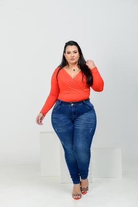 Calça Feminina Jeans Skinny 2 Botões Cintura Alta
