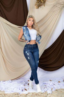 Calça Feminina Jeans Skinny Detalhe Devorê Frontal