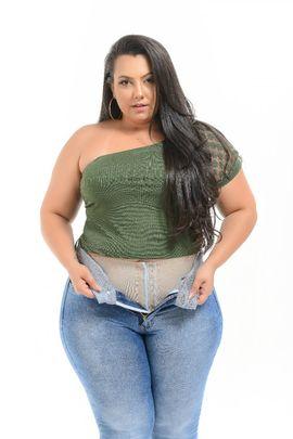 Calça Feminina Jeans Plus Size Cintura Média Com Cinta Modeladora Xtracharmy