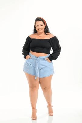 Shorts Feminino Jeans Godê Plus Size Cintura Média Xtracharmy