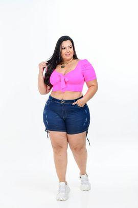 Shorts Feminino Jeans Plus Size Cintura Média Detalhe Cordão Barra Lateral