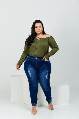 Calça Feminina Jeans Skinny Plus Size Cintura Alta  Dois Botões