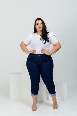 Cropped Feminina Jeans Plus Size Cintura Alta Amaciada