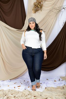 Calça Feminina Jeans Skinny Plus Size Carbono Cintura Alta Xtracharmy