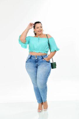 Calça Feminina Jeans Cigarrete Plus Size Cintura Alta Xtracharmy