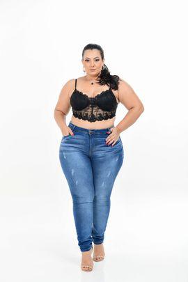 Calça Feminina Jeans Plus Size Cintura Média