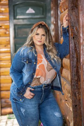 Jaqueta Feminina Jeans Plus Size Delavê Xtracharmy