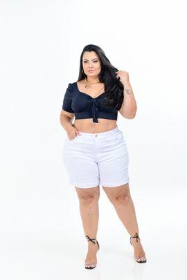 Shorts Feminino Sarja Branca Plus Size Com Lycra Cintura Alta