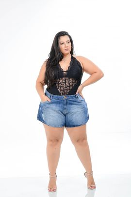 Shorts Feminino Jeans Sem Lycra Godê Plus Size Cintura Alta Xtracharmy