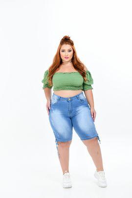 Ciclista Feminina Jeans Plus Size Cintura Alta Detalhe Cordão Barra Lateral