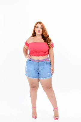 Shorts Feminino Jeans Plus Size Cintura Alta Detalhe Cinto Rosa