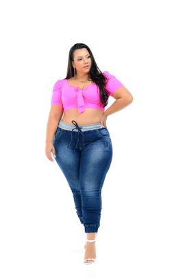 Calça Feminina Jeans Jogger Plus Size Cintura Alta Cós Moletom