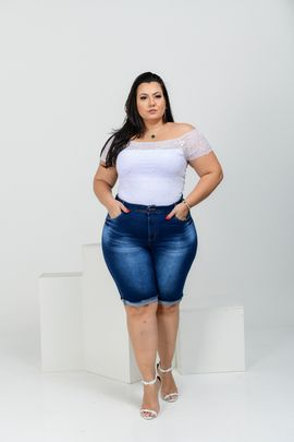 Bermuda Feminina Jeans Plus Size Cintura Alta