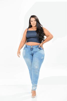 Calça Feminina Jeans Cigarrete Plus Size Cintura Media Xtracharmy