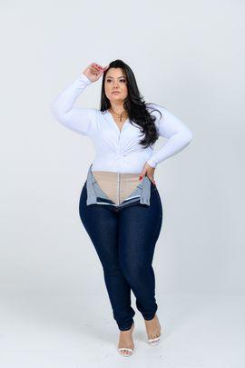 Calça Feminina Jeans Plus Size Cintura Alta Com Cinta Modeladora Amaciada