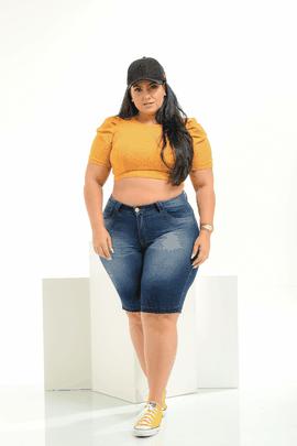 Bermuda Feminina Jeans Plus Size Cintura Média