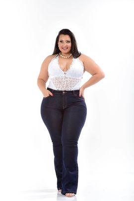 Calça Feminina Jeans Flare Plus Size Cintura Média Xtracharmy