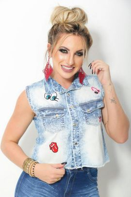 Camisa Jeans Cropped com Pets