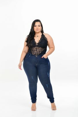 Calça Feminina Jeans Skinny plus Size Cintura Média  Amaciada Com  Bordado No Cós