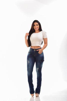 Calça Feminina Jeans Flare Bolso Cargo W.Pink