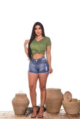 Shorts Feminino Jeans Barra Desfiada W.Pink