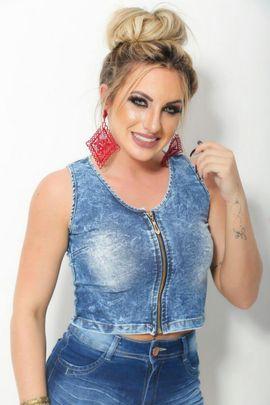 Top Jeans com Lycra Zíper W.Pink