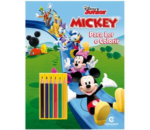 Mickey Ler e Colorir Com Lápis