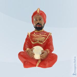 Deus Hindu com roupa vermelha em resina, 10cm