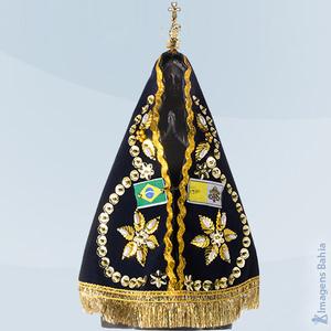 Nossa Senhora Aparecida facsimile com manto e coroa, 20cm