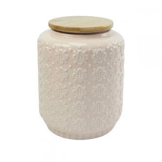 Pote em cerâmica com tampa de bambu