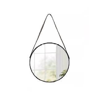 Espelho Escandinavo Preto com Alça de Couro