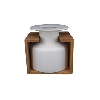 Vaso Decorativo Cerâmica e Bambu Branco - P