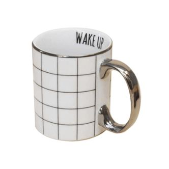 Caneca de Cerâmica Wake Up Prateada