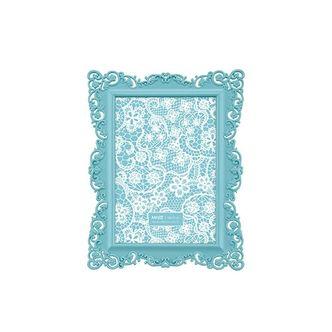 Porta Retrato Ornamental Azul Turquesa 10x15 cm