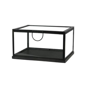 Caixa Decorativa em Metal e Vidro Preta Media
