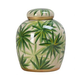 Pote Decorativo Porcelana Folhas M