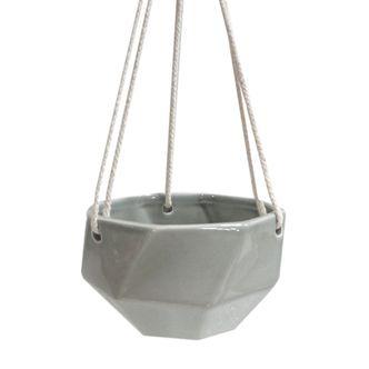 Cachepot de Cerâmica Cinza com Alça de Corda