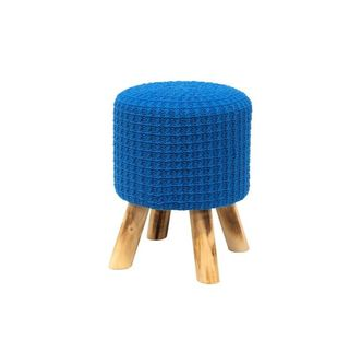Puff de Madeira com Crochet Azul