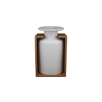 Vaso Decorativo Cerâmica e Bambu Branco - M