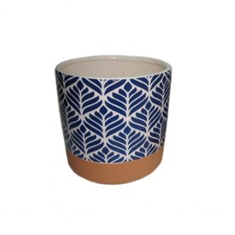 Cachepot de Cerâmica Terracota e Azul - Grande