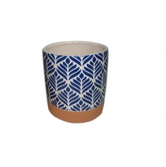 Cachepot de Cerâmica Terracota e Azul - Pequeno